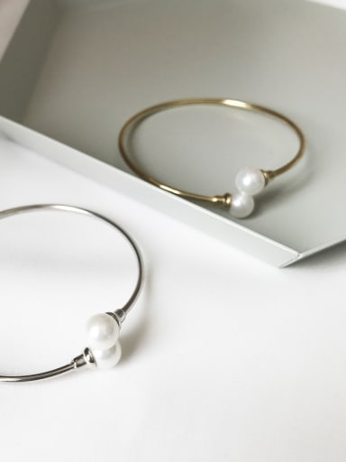 925 Sterling Silver Imitation Pearl White Geometric Trend Band Bangle