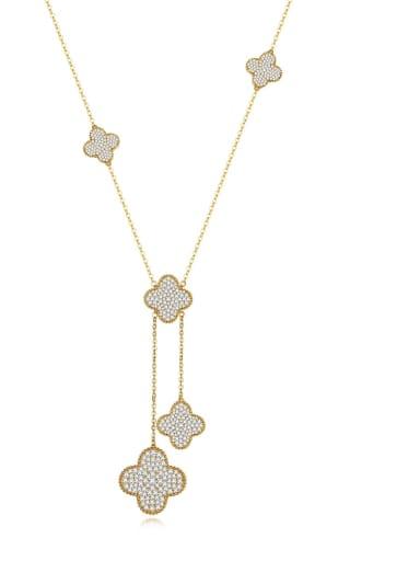 Copper Cubic Zirconia Clover Minimalist Tassel Necklace