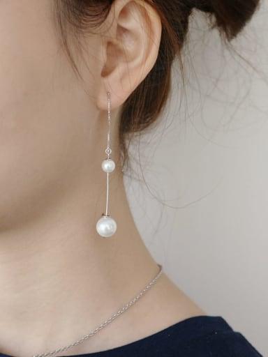 925 Sterling Silver Imitation Pearl Tassel Minimalist Threader Earring