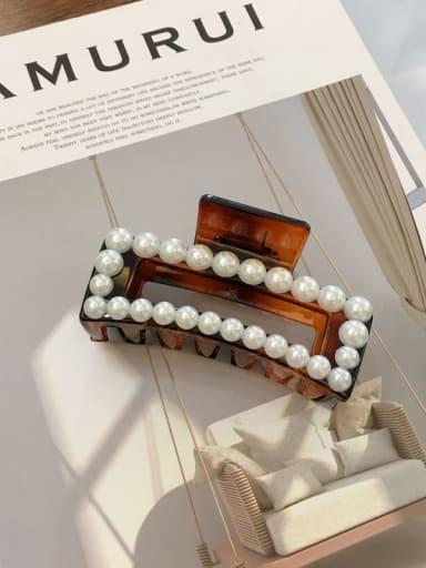 Amber 8.8cm Cellulose Acetate Imitation Pearl Minimalist Geometric  Jaw Hair Claw