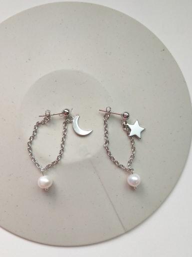 925 Sterling Silver Imitation Pearl Star Moon Minimalist Threader Earring