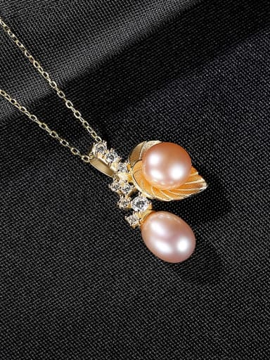 Purple 7a12 925 Sterling Silver Imitation Pearl Leaf Vintage Necklace