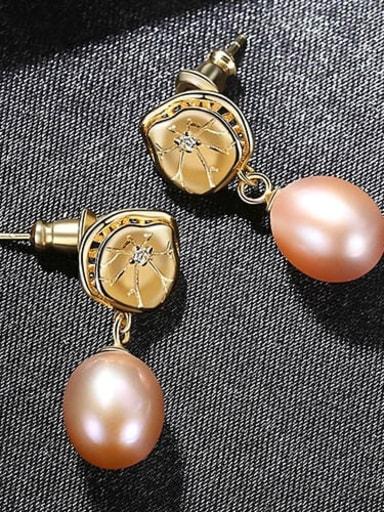 Purple 4h11 925 Sterling Silver Freshwater Pearl Flower Dainty Drop Earring