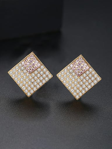 18K t02b21 main stone pink plating Copper Cubic Zirconia Square Luxury Stud Earring