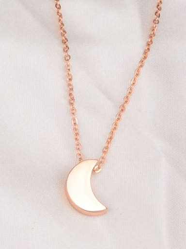 Titanium  Fashion Simple Smooth Moon Necklace