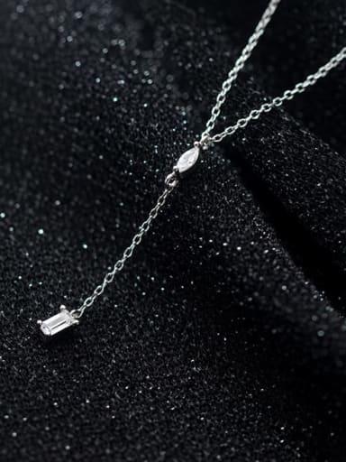 925 Sterling Silver Rhinestone Tassel Minimalist Lariat Necklace