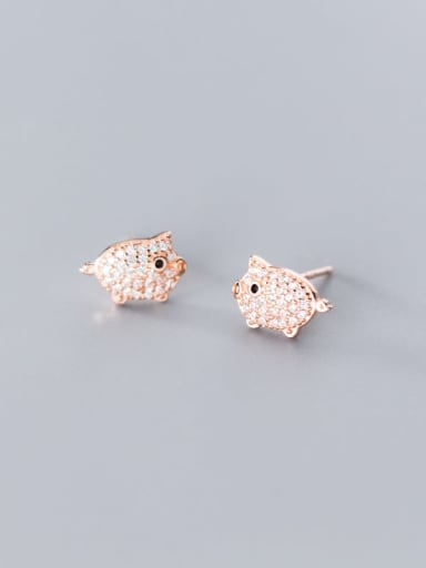 925 Sterling Silver Cubic Zirconia  Pig Classic Stud Earring