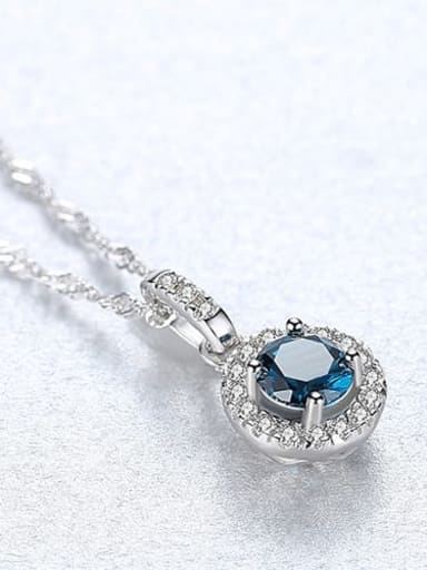Blue 20f12 925 Sterling Silver Cubic Zirconia Multi Color  Simple Round Necklace