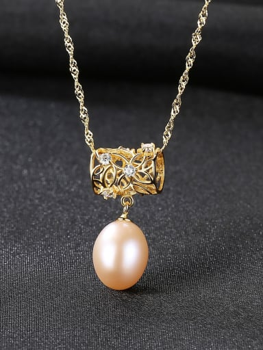 Pink 18K 6k04 925 Sterling Silver Freshwater Pearl Fashion irregular pendant  Necklace