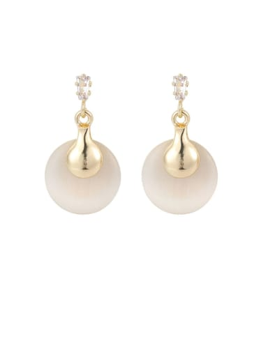 Brass Cats Eye White Round Minimalist Drop Earring