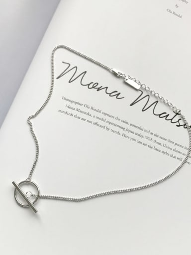 925 Sterling Silver Simple Round Pendant Necklace