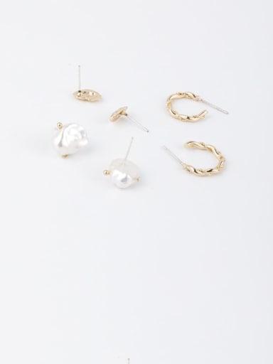 Brass Irregular Minimalist Geometric 6-piece Stud Earring