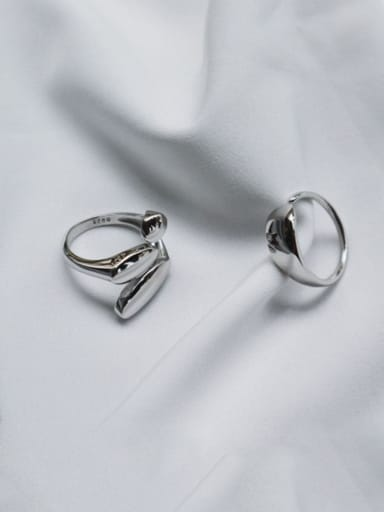 S925 Sterling Silver geometric smooth simple opening ring