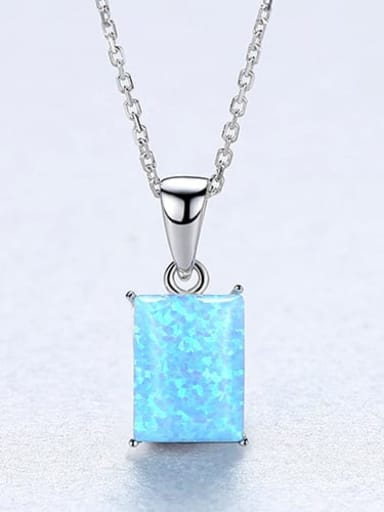 Blue 20F04 925 Sterling Silver Blue Opal simple Square Pendant Necklace