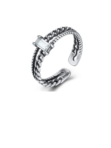 925 Sterling Silver  Square  Cubic Zirconia Vintage Stackable Ring