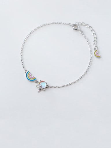 925 Sterling Silver Multi Color Rainbow Minimalist Link Bracelet