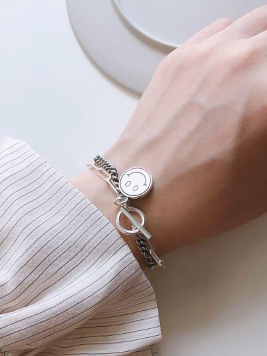 925 Sterling Silver Face Artisan Link Bracelet