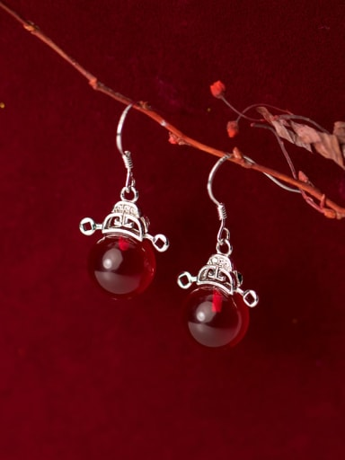 925 Sterling Silver With Platinum Plated Ethnic  Red Carnelian Hook Earrings