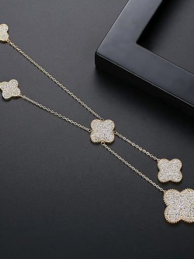 gold Copper Cubic Zirconia Clover Minimalist Tassel Necklace