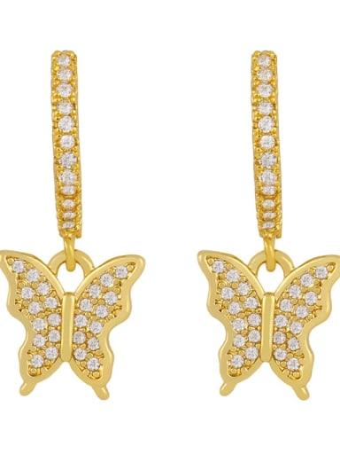 butterfly Brass Cubic Zirconia Water Drop Vintage Huggie Earring