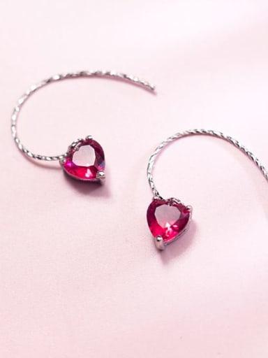 925 Sterling Silver Cubic Zirconia Red Heart Minimalist Drop Earring