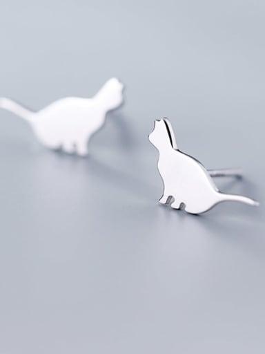 925 Sterling Silver Cat Minimalist Stud Earring