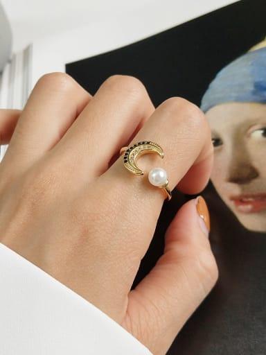 925 Sterling Silver Cubic Zirconia Blue Moon Cute Midi Ring