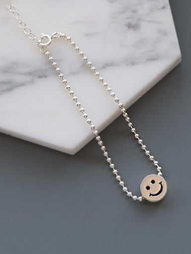 925 Sterling Silver Face Smiley Beaded Bracelet