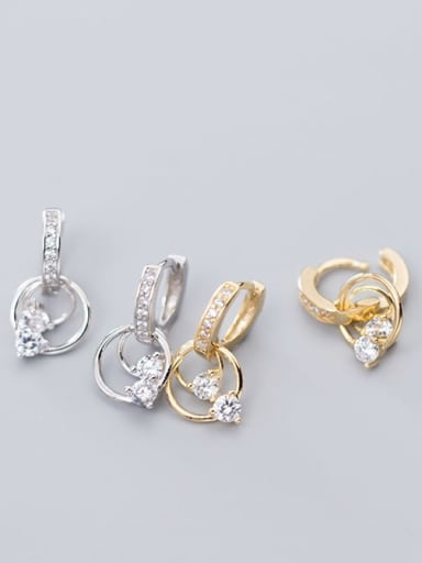 925 Sterling Silver Cubic Zirconia Round Classic Huggie Earring
