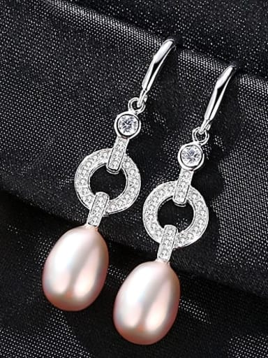 Purple 1A03 925 Sterling Silver Freshwater Pearl Hollow Geometric Classic Hook Earring