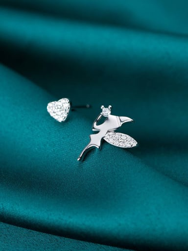 925 Sterling Silver Cubic Zirconia Asymmetric Angel Heart Cute Stud Earring