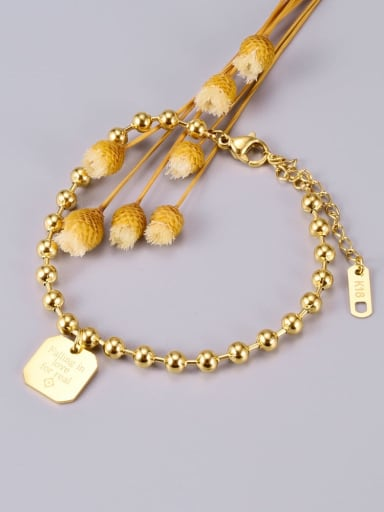 Titanium Bead Heart Classic Beaded Bracelet