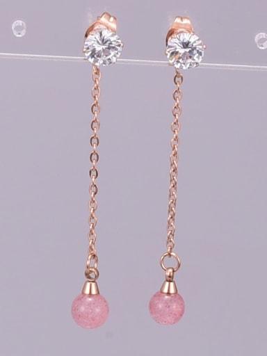 Titanium Rhinestone Tassel Minimalist Threader Earring
