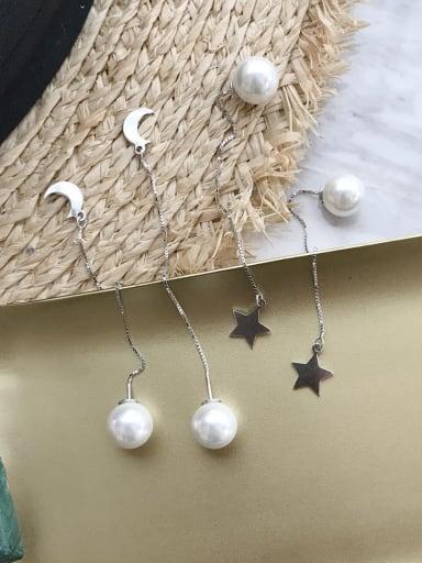925 Sterling Silver Imitation Pearl White Tassel Minimalist Threader Earring