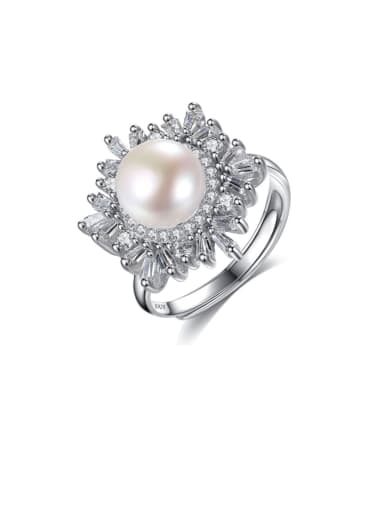 925 Sterling Silver Freshwater Pearl  Flower Trend Band Ring
