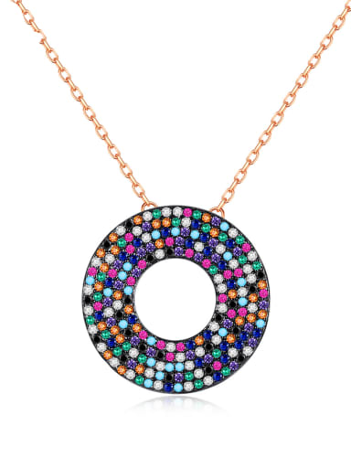 Copper Cubic Zirconia Retro ethnic style  Multi Color Geometric pendant Necklace