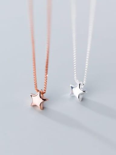 925 sterling silver simple fashion Pentagram Star Pendant Necklace