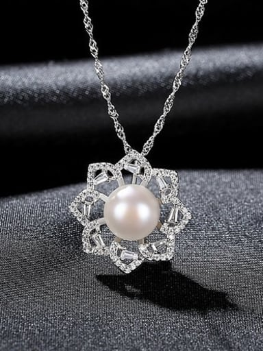 White 7a07 925 Sterling Silver Rhinestone Flower Dainty Necklace