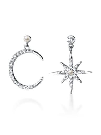 925 Sterling Silver Cubic Zirconia Star Dainty Drop Earring