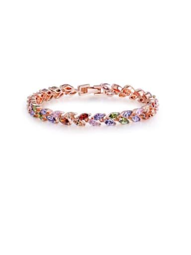 Copper Cubic Zirconia Leaf Dainty Bracelet