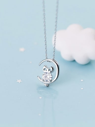 925 Sterling Silver Cubic Zirconia  Cute Hollow  owl pendant Necklace