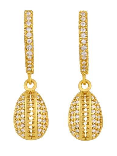 Brass Cubic Zirconia Water Drop Vintage Huggie Earring