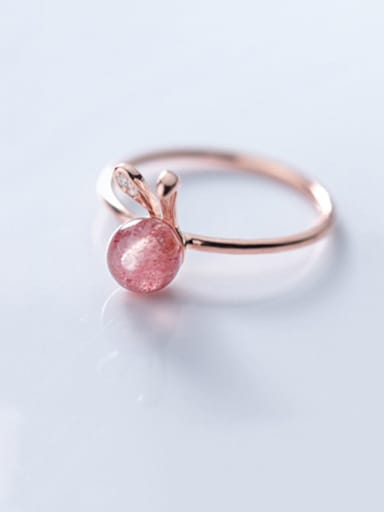 925 Sterling Silver Cute Rabbit Strawberry Crystal  Free Size  Ring