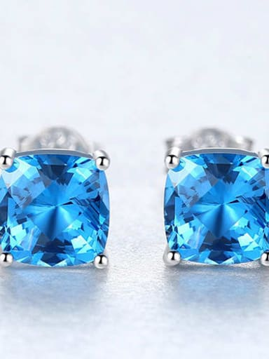 925 Sterling Silver Cubic Zirconia Blue Square Luxury Stud Earring