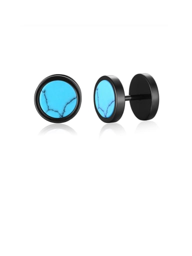 turquoise Stainless Steel With Turquoise Tiger Eye Blue Sandstone Dumbbell Men's Stud Earrings