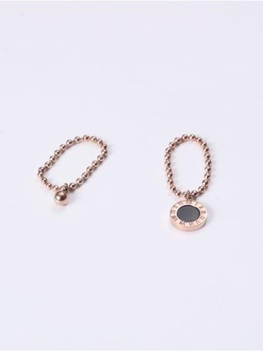 Titanium Enamel Bead Black Round Minimalist Midi Ring