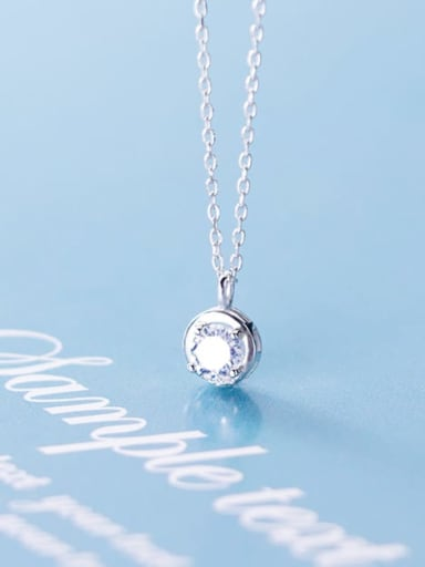 925 Sterling Silver Cubic Zirconia round pendant  Necklace