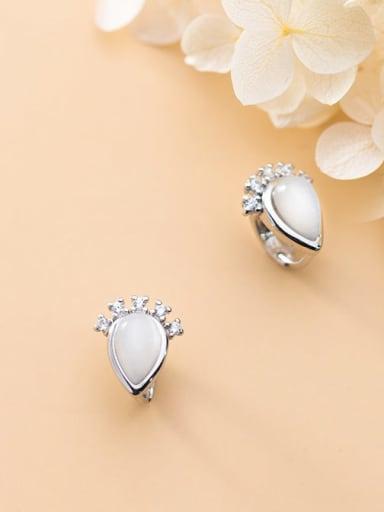 925 Sterling Silver Cats Eye  Water Drop Minimalist Huggie Earring