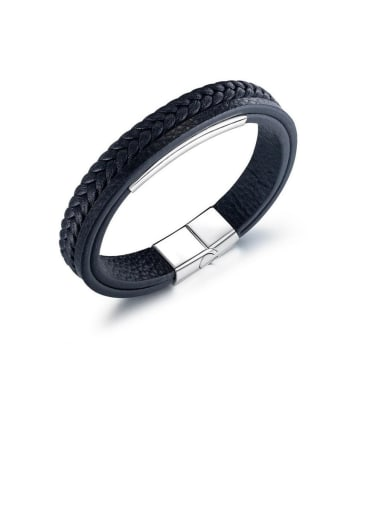 Titanium Leather Geometric Minimalist Woven & Braided Bracelets