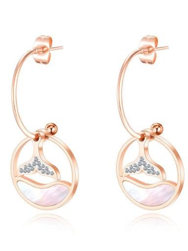 Titanium Rhinestone Geometric Minimalist Hook Earring